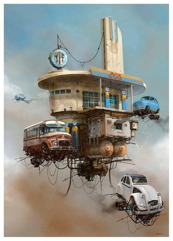 """Servicentro YPF from artist Alejandro """"Burda"""" Burdisio – Print Poster Wall Decor – Classic Car Posters – Concept Art"""