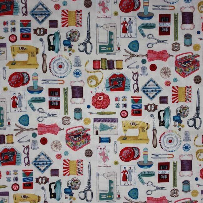Fat Quarter Stitch in Time montage coton quilting tissu Makower à coudre à thème
