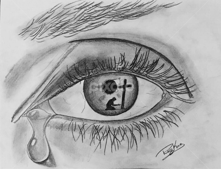 In the Eye of a Sinner by Rob King - Drawing All Drawing ( jesus, tear, conceptual, drawing, eye, cross )