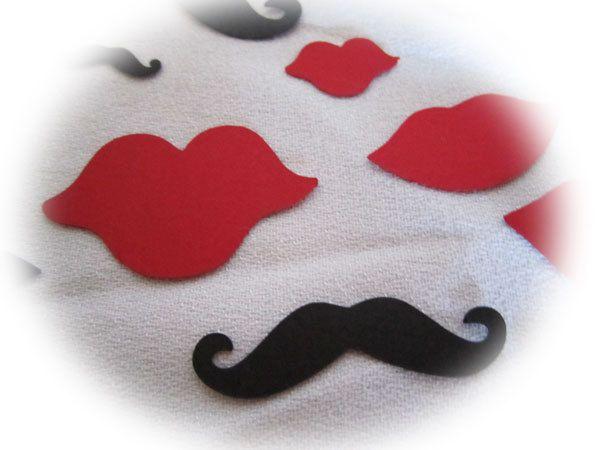 Mustache & Lips Confetti Party Decor Wedding Die Cut Black and Red Paper Card Accent 30 pc TeamScrapbookNinjas. $2.25, via Etsy.