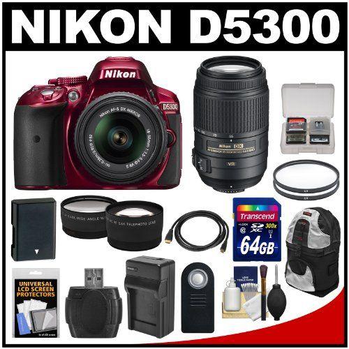 Nikon D5300 Digital Slr Camera 18 55mm Vr Ii Lens Red With 55 300mm Vr Lens 64gb Card Battery Charger B Digital Slr Camera Digital Slr Nikon D5300