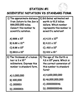Scientific Notation Differentiated Stations | Scientific Notation ...