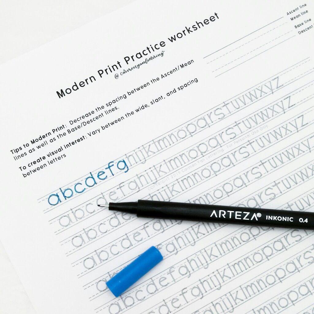 Abc Modern Print Practice Sheet Printable Carmen Yan