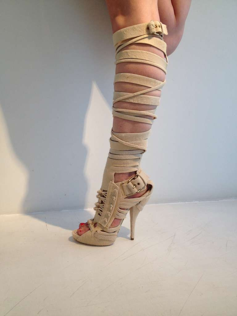 Givenchy Cream Pony Up The Leg Gladiator Sandals 1stdibs Com Clothes Design Fashion Fashion Outfits