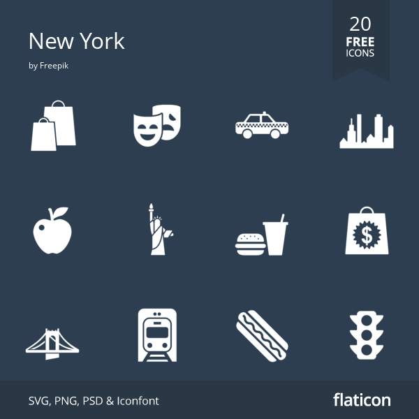20 Free Vector Icons Of New York Designed By Freepik Free Icon Packs Free Icons Vector Free