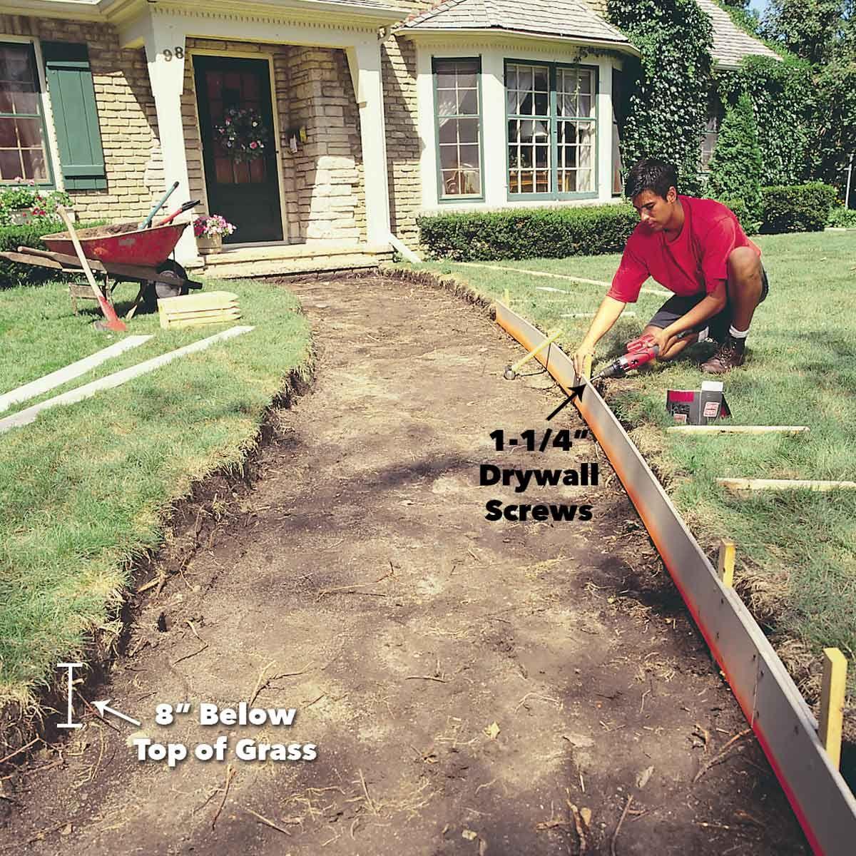 How To Pour A Concrete Sidewalk Poured Concrete Patio Concrete Walkway Stamped Concrete Walkway