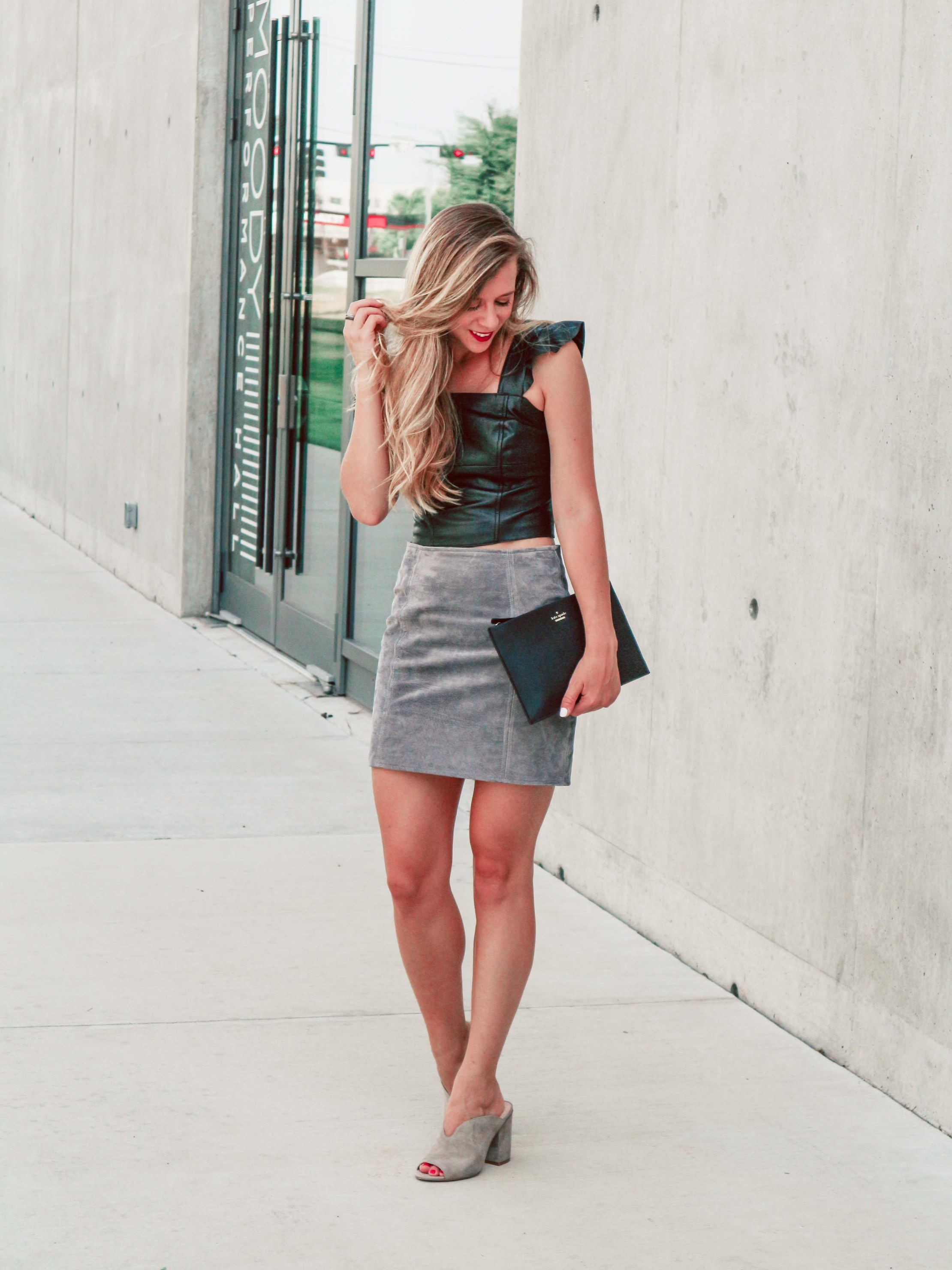 3f3f664e4 Nordstrom Anniversary Sale Early Access 2018 | Running in Heels | gray suede  skirt | leather crop top with ruffle straps | BP mules in taupe | suede  mini ...