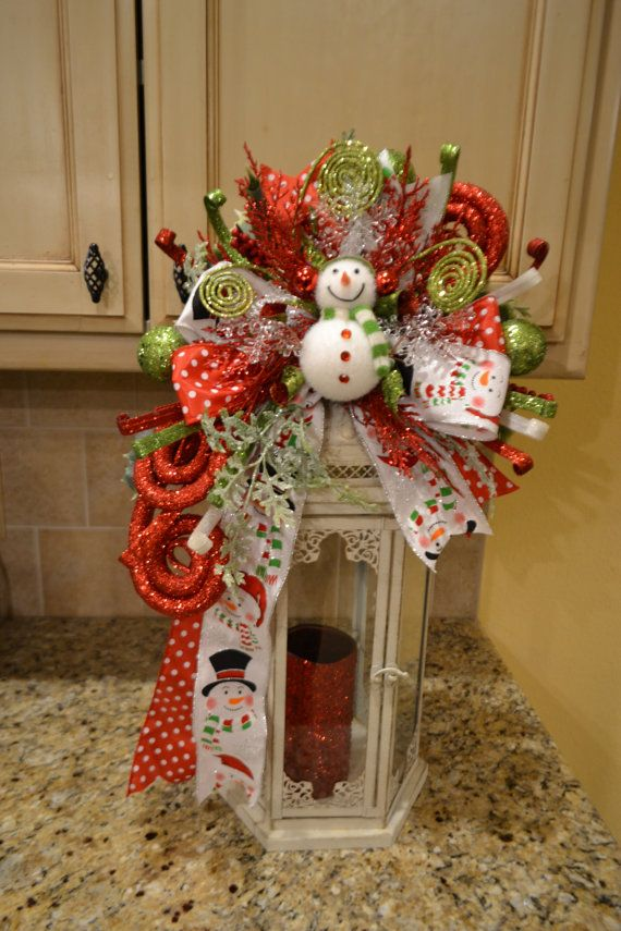 whimsical snowman lantern swag by kristenscreations on etsy wreaths pinterest decoration. Black Bedroom Furniture Sets. Home Design Ideas