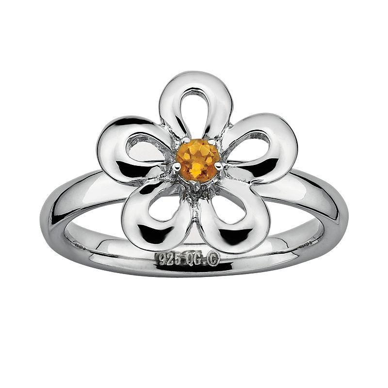 Sterling Silver Sterling Silver Rhodium Citrine /& Diamond Flower Pendant