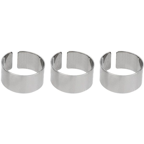 ASOS Pack of Three Plain Band Rings (170 ARS) ❤ liked on Polyvore featuring jewelry, rings, accessories, fillers, bijoux, asos jewelry, wide rings, asos, band jewelry and asos rings