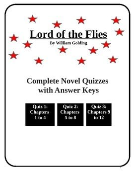 Three quizzes on the novel including multiple choice