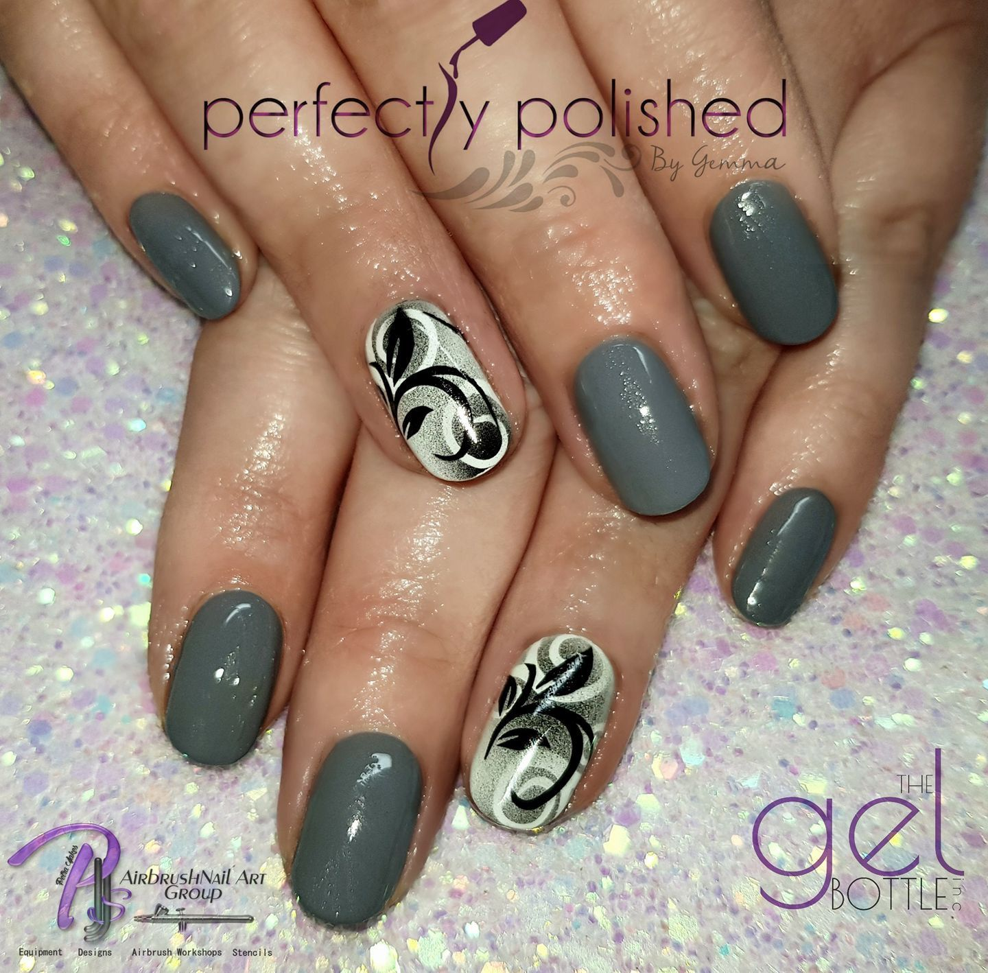 Grey Airbrushed Design Nails Colour By The Gel Bottle Shadow