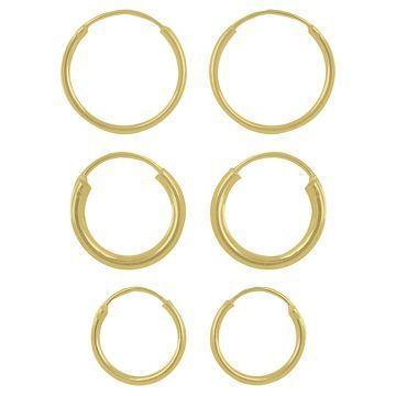Women's Set of 3 Hoop Earrings with 14K Gold Plating in Sterling Silver - Gold