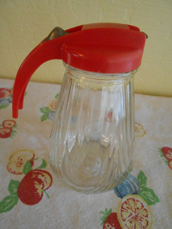 Federal Tool Vintage Mid Century Red Syrup or Honey Dispenser-This Mid Century red topped syrup pitcher is in excellent condition! It could be used for pancake syrup, honey or ice cream topping, or be put on display.....by CheekyBirdy on Etsy