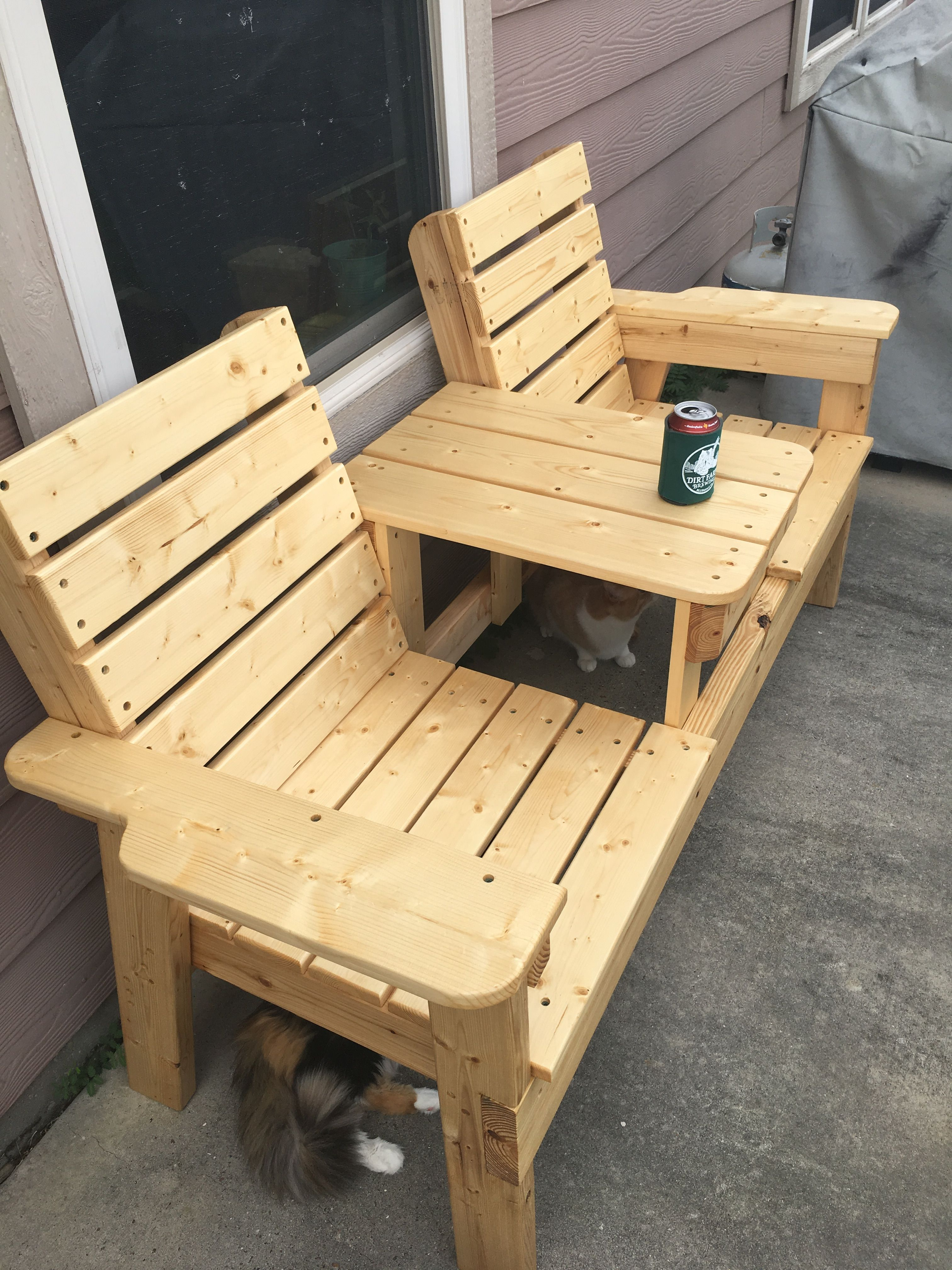 Build Double Chair Bench With Table Free Plans