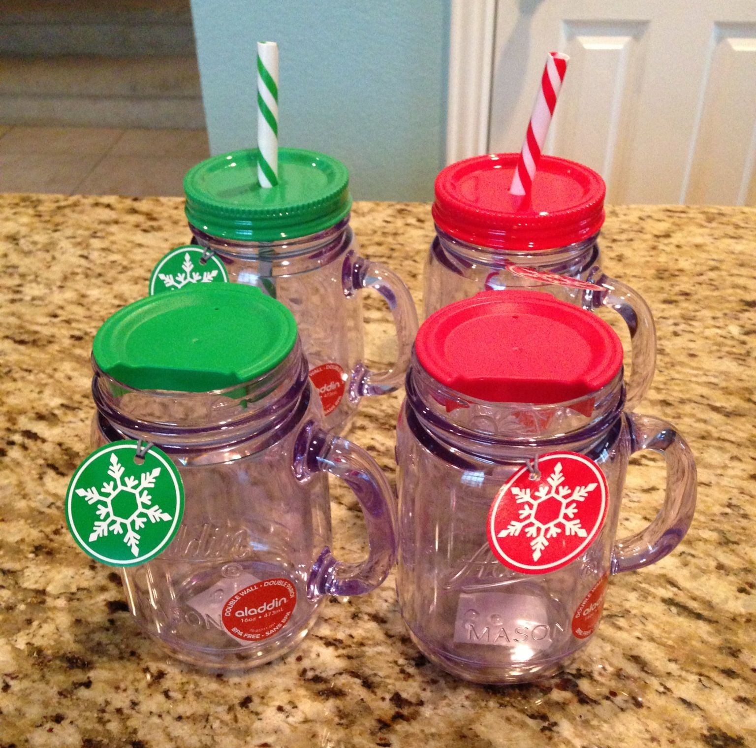 Plastic mason jar togo cups! One for hot and one for cold
