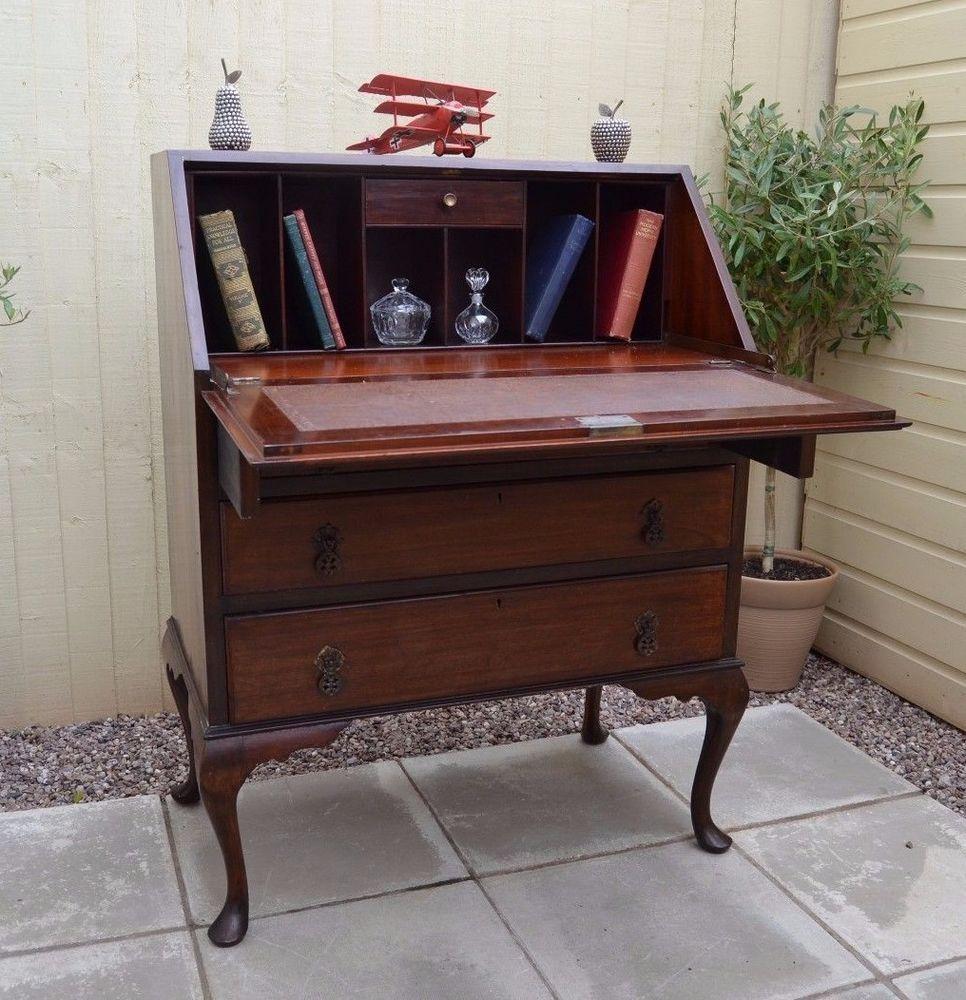 Pretty Vintage Walnut Writing Bureau Writing Desk Laptop Home Office