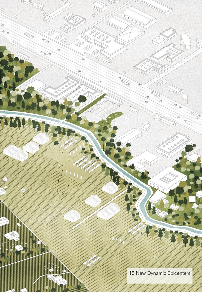 AXO_URB_Tirana 2030: Watch How Nature and Urbanism Will Co-Exist in the Albanian Capital,New public schools will act as focal points for city neighborhoods. Image Courtesy of Attu Studio