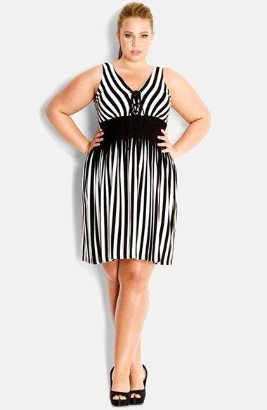 362a6de08f City Chic Lace-Up Stripe Sleeveless Dress (Plus Size)  plussizedresses   plussizefashion  plussizeclothes  fatshion