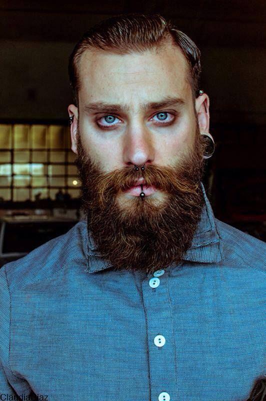 Dominik B Iercings Beard Barbe Blue Eyes Beard No Mustache