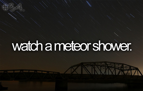 meteor shower.. Check baby.. I do this all the time! I'm an astronomy buff! Love it!