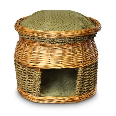 Luxury Wicker Double Decker Shaker Mojito Cat Basket and Bed