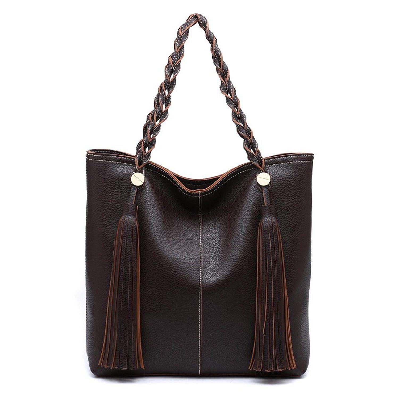 fa953c1e56 Shomico Women Tote Shoulder Bag Purse Ladies Handbag Large Fashion Top  Handle Hobo Trendy Stylish Tassel Soft Lightweight Vegan Leather