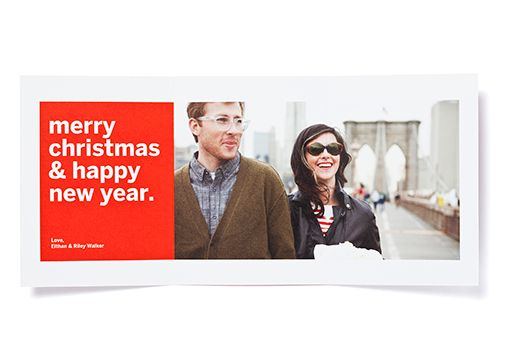 Chevron Trifold Photo Card with Happy Holidays Envelope