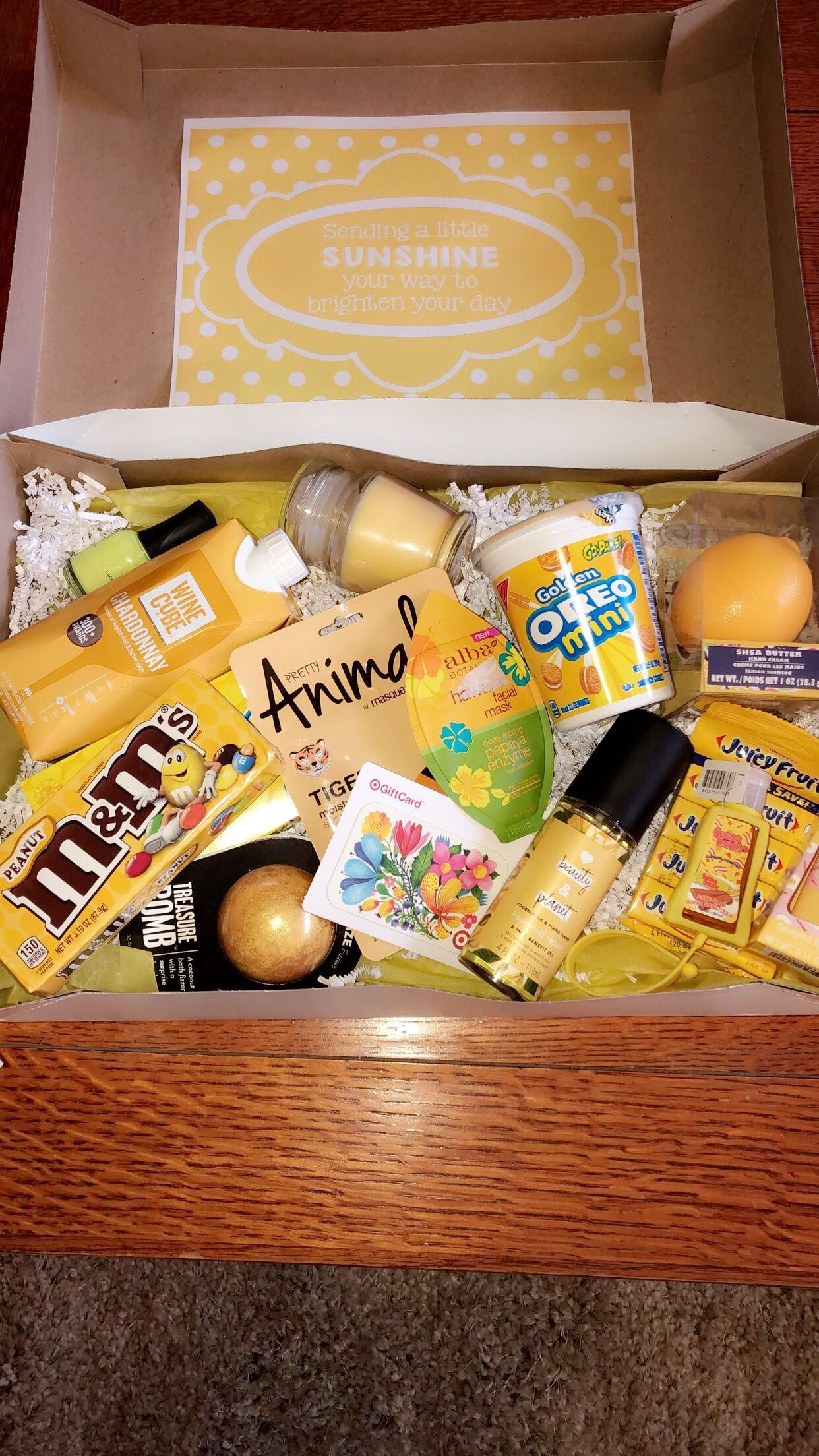 Gift ideas. A yellow box of joy for someone who is down