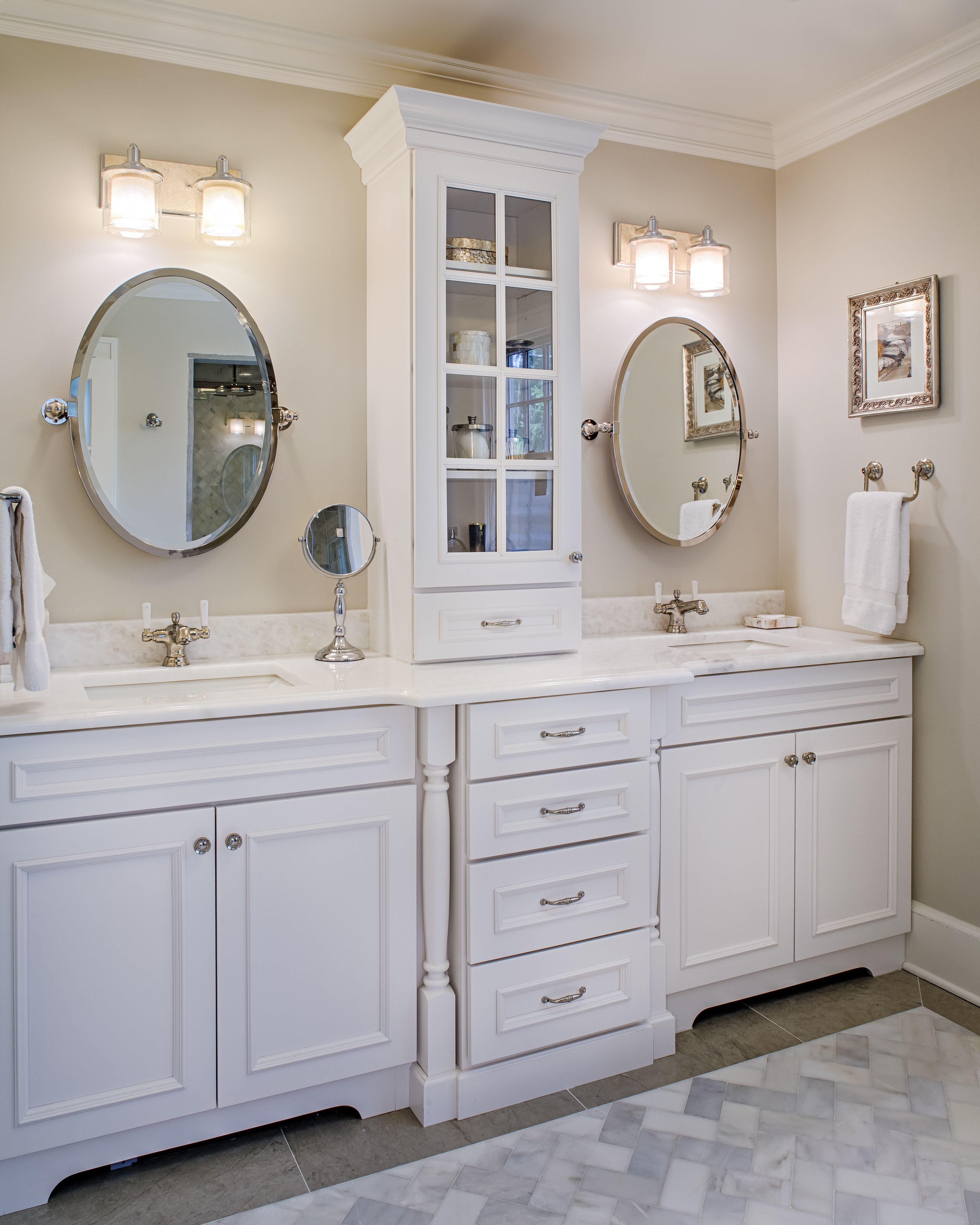Double Bathroom Vanity With Middle Tower