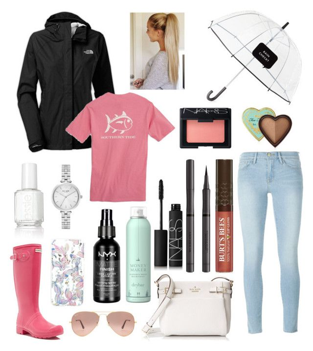 """""""Rain"""" by bowhunter1498702 on Polyvore featuring The North Face, Frame Denim, Southern Tide, Hunter, Kate Spade, Essie, Ray-Ban, Lilly Pulitzer, NYX and Drybar"""