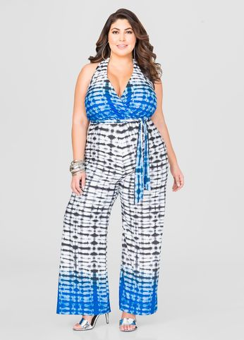 008815324f61 Wide Leg Tie Dye Jumpsuit-Plus Size Dresses-Ashley Stewart-010-7025