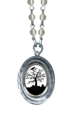 Small Haunted Tree Oval Pop Art Locket Necklace - Cream Pearl Glass Beads
