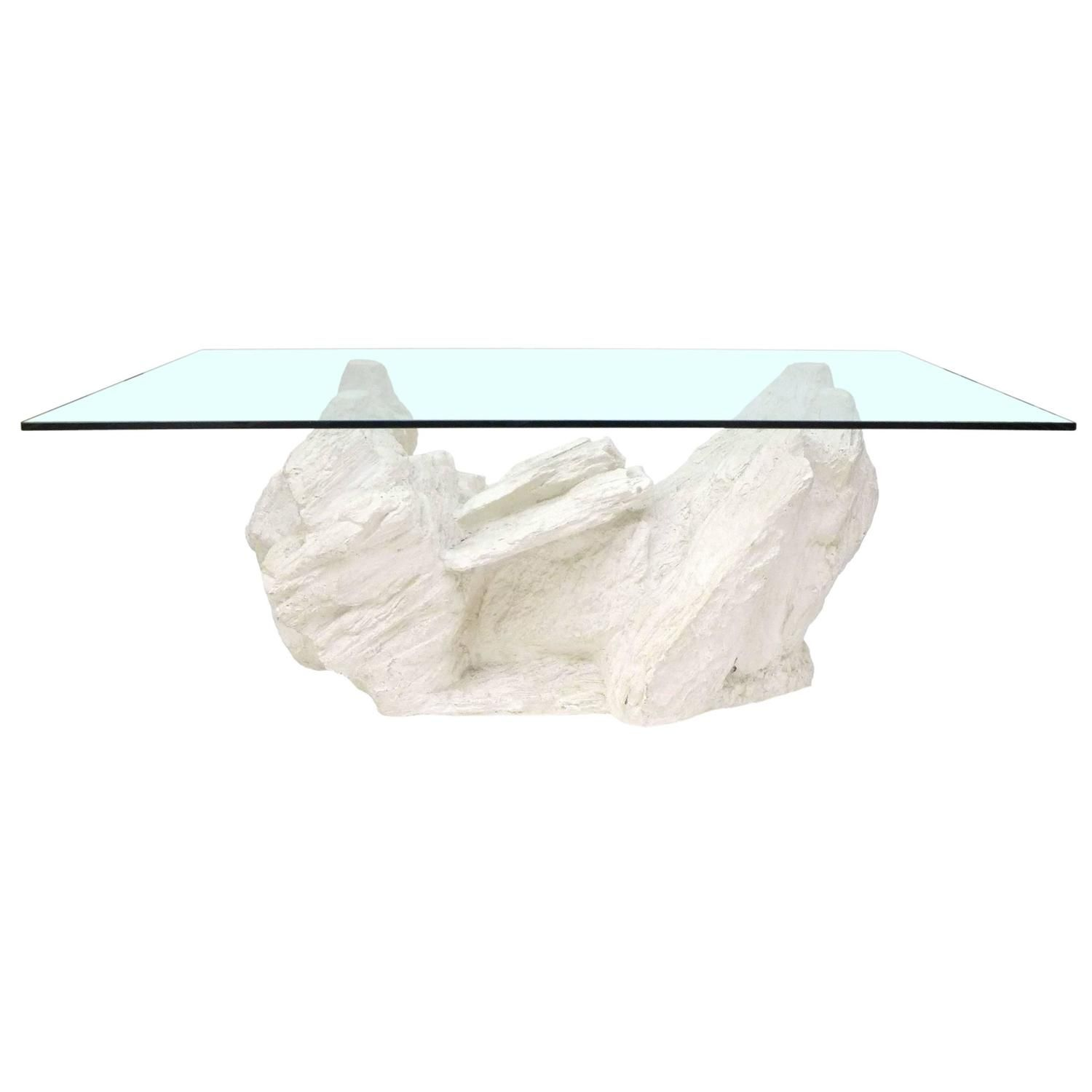 Cast Plaster Faux Rock Coffee Table by Sirmos For Sale at 1stdibs