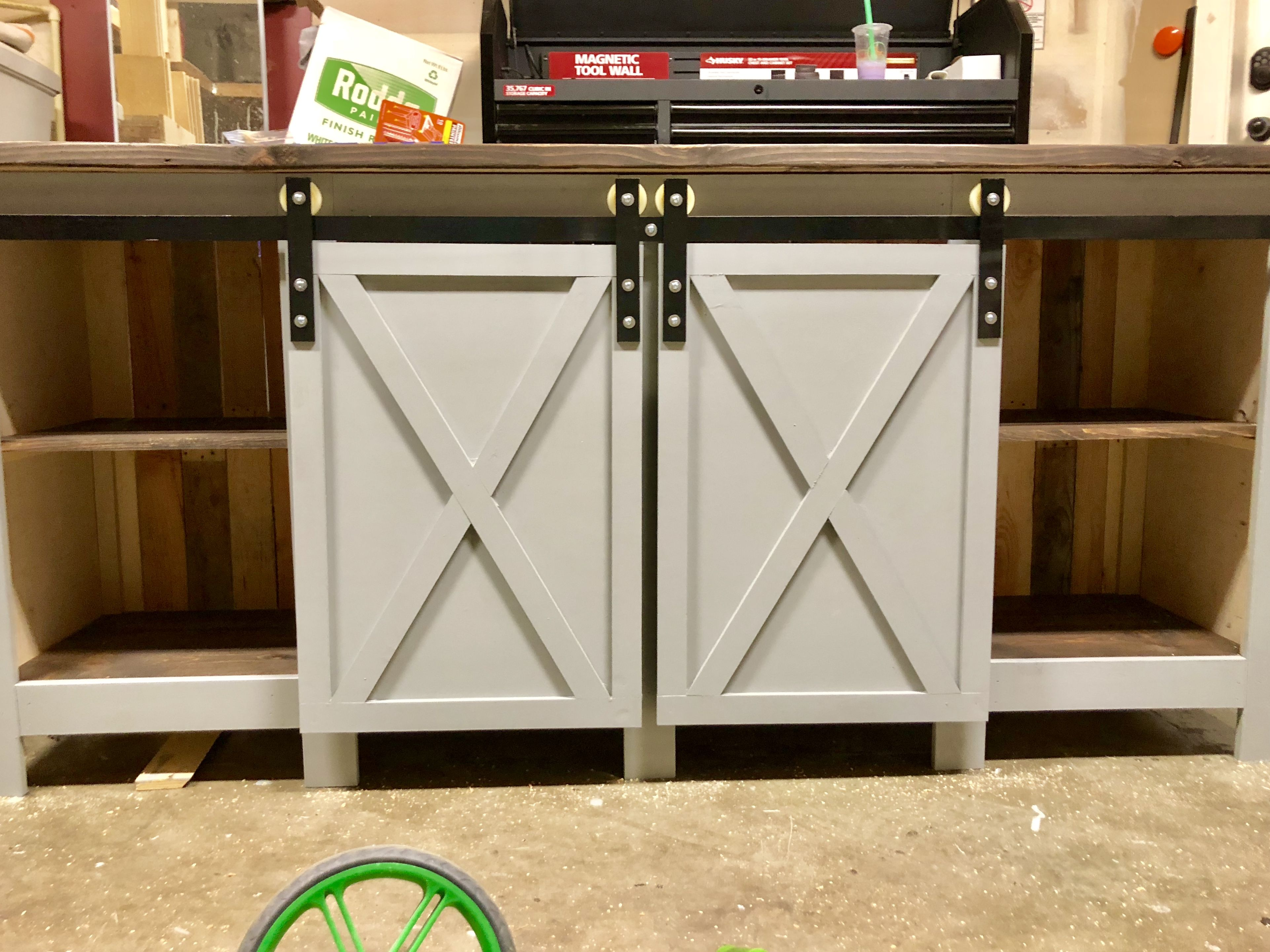 Mive Farmhouse Sliding Door Console Custom Sizes 40 Inch Tall 94 Wide Behr Cosmic Quest Paint With Kona Stain On Top Hardware By Me