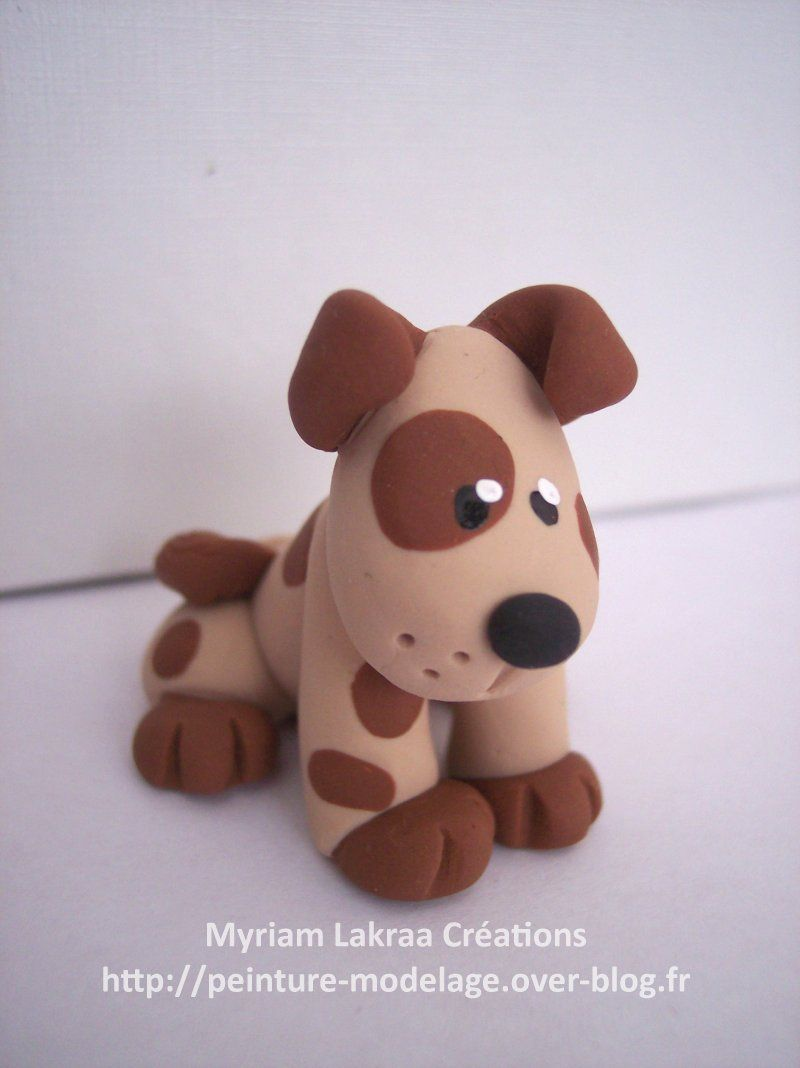 myriam lakraa cr ations chien assis dog p te polym re fimo polymer clay 2004 fimo. Black Bedroom Furniture Sets. Home Design Ideas