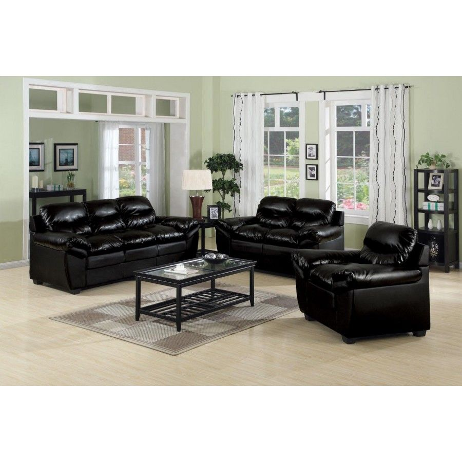 Room Luxury Black Leather Sofa Set Living