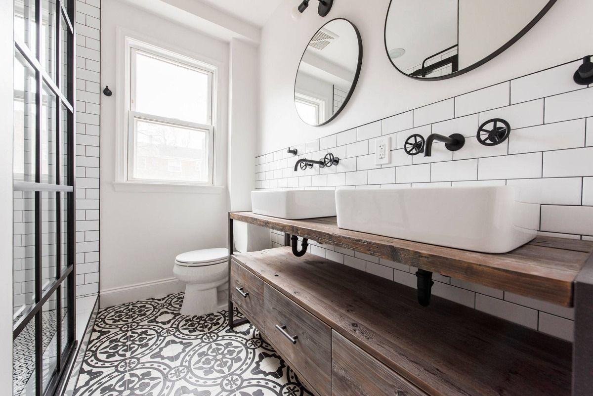 Badezimmer Weiß mit Holz kombinieren Moderne und