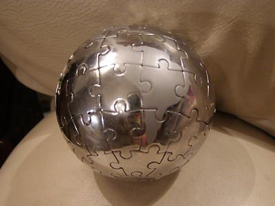 Vintage metal chromed world map globe jigsaw puzzle ebay aa vintage metal chromed world map globe jigsaw puzzle ebay gumiabroncs Images