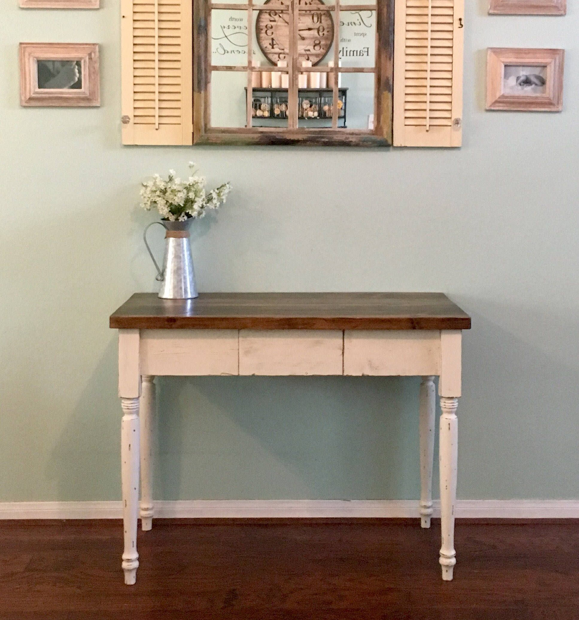 Farmhouse Desk with Center Drawer by SouthernWisteriaCo on