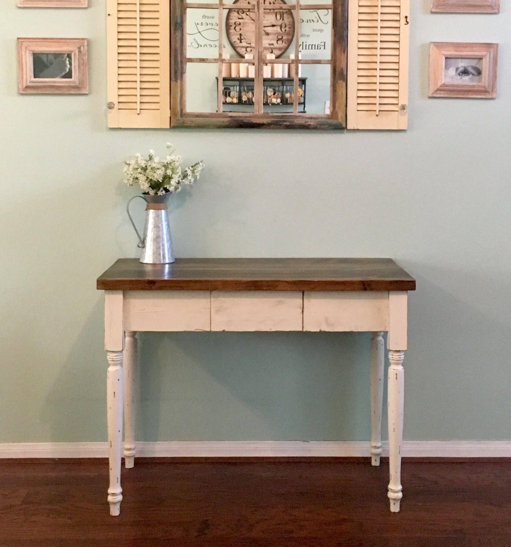 Farmhouse desk with center drawer etsy farmhouse desk