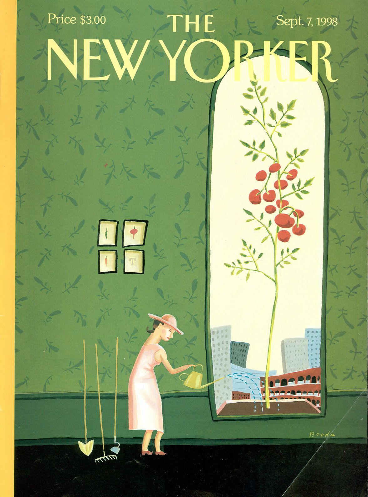 "The New Yorker - Monday, September 7, 1998 - Issue # 3812 - Vol. 74 - N° 26 - Cover ""Window Box"" by Juliet Borda"