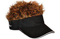 Flair Hair Novelty Adjustable Visor with Spiked Hair Joke Gag Visor Hat Cap 794f1f39b735