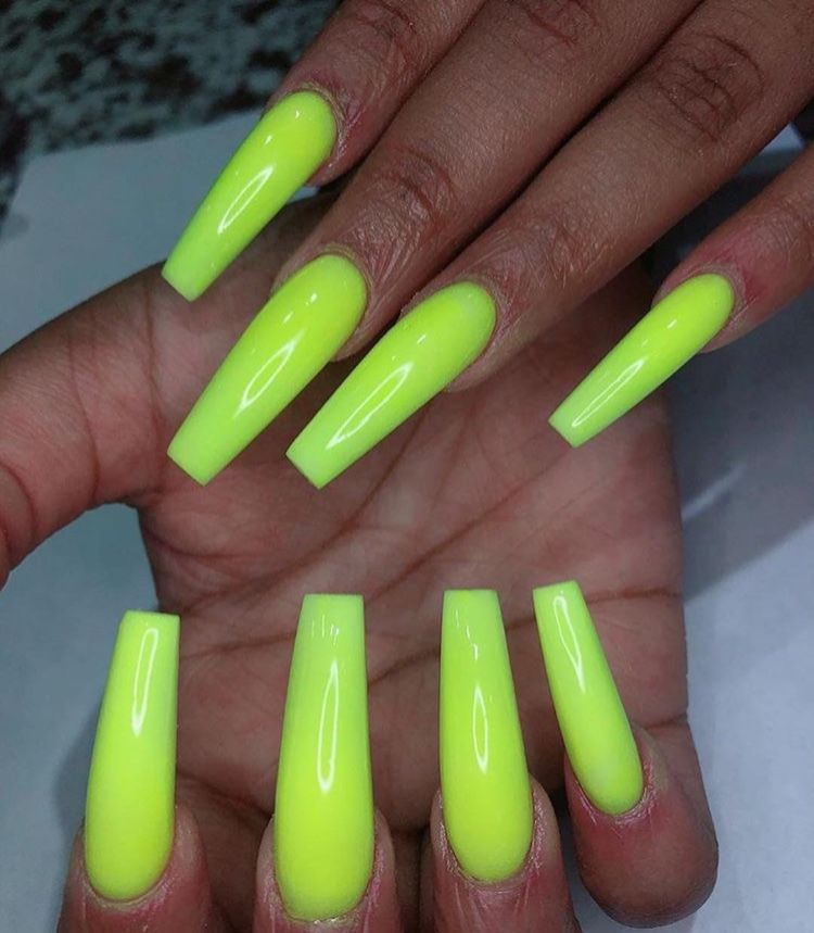 Lime Green Coffin Nails To See More Follow Kiki Slim With