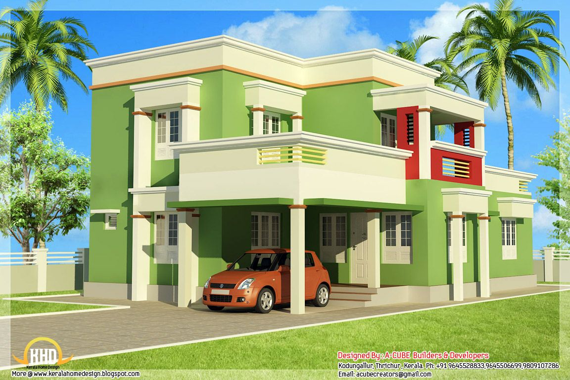 Easy porch roofs simple 3 bedroom flat roof home design for Simple kerala home designs