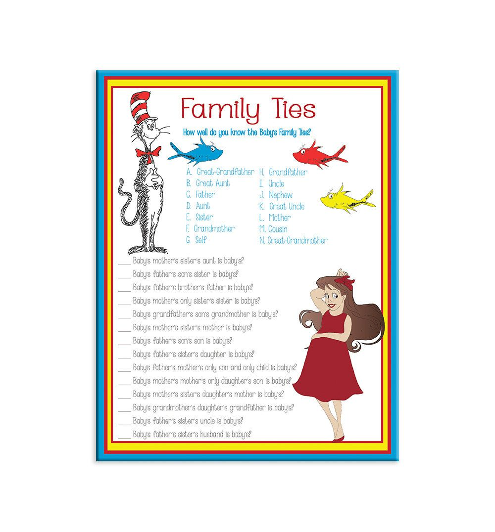 Marvelous Family Baby Shower Games Part - 3: Printable Baby Shower Game Family Ties