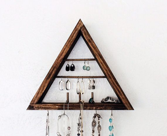 Handcrafted Triangle Wooden Jewelry Holder Finally a decorative and