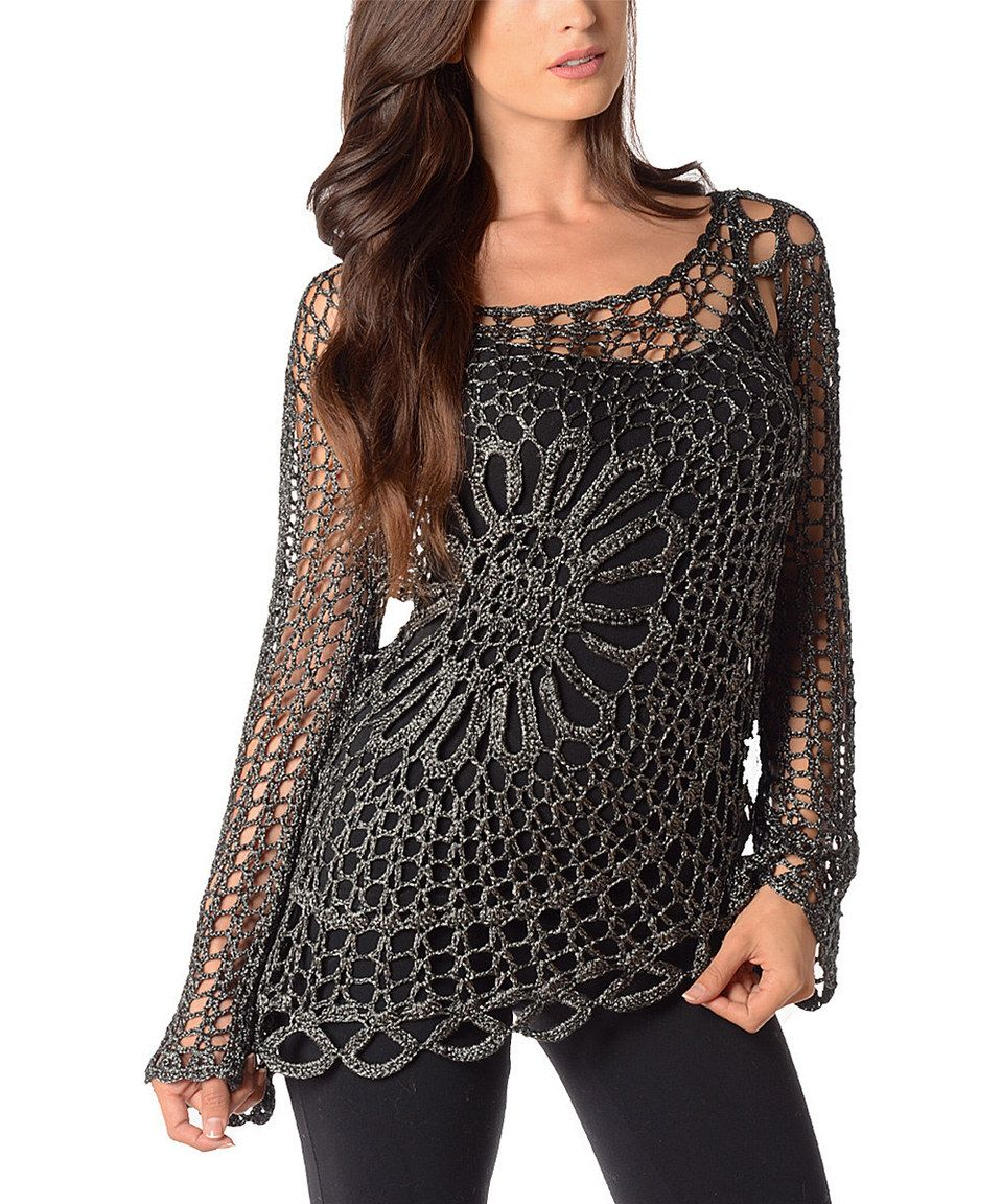 Loving this Black Open-Weave Crochet Sweater on #zulily! #zulilyfinds