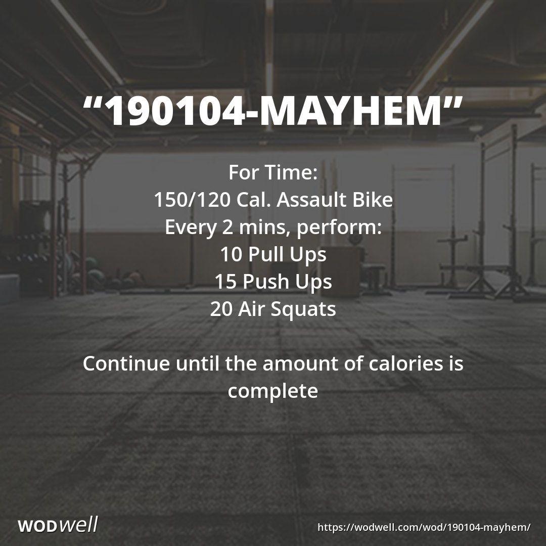 """""""190104Mayhem"""" WOD Assault bike workout, Wod workout"""