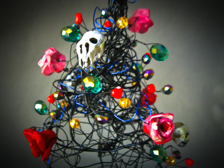 Gothic Skull Tree, Wire Tree, Black Halloween Tree, Halloween - halloween tree decoration